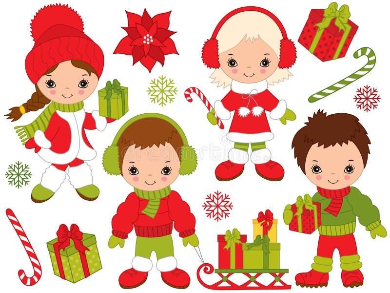 Рождество и Новый Год вектора установленные с маленькими ребеятами и элементами зимы иллюстрация вектора