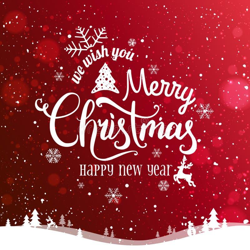 Рождество и Новый Год типографские на красной предпосылке с ландшафтом зимы, снежинках Xmas, свете, звездах Карточка с Рождеством бесплатная иллюстрация