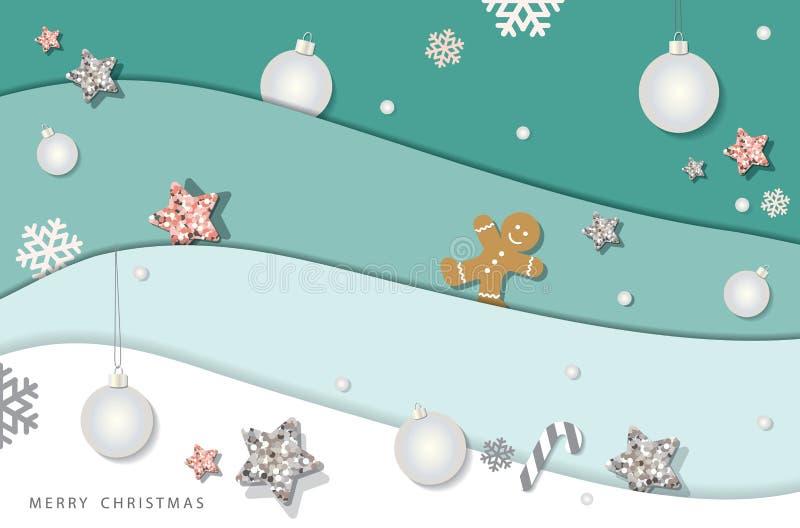 Рождество и счастливая предпосылка зимы Нового Года Бумажные слои выреза, украшенные с звездами яркого блеска, снежинками и шарик иллюстрация вектора