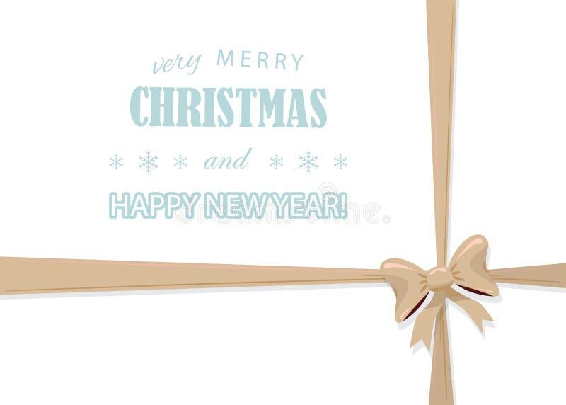Рождество и счастливый шаблон Нового Года при золотой смычок изолированный на белизне Присутствующий дизайн украшения Для поздрав иллюстрация штока