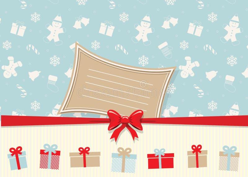 Рождество и счастливый шаблон поздравительной открытки Нового Года с местом для вашего текста Конструкция год сбора винограда Для иллюстрация штока