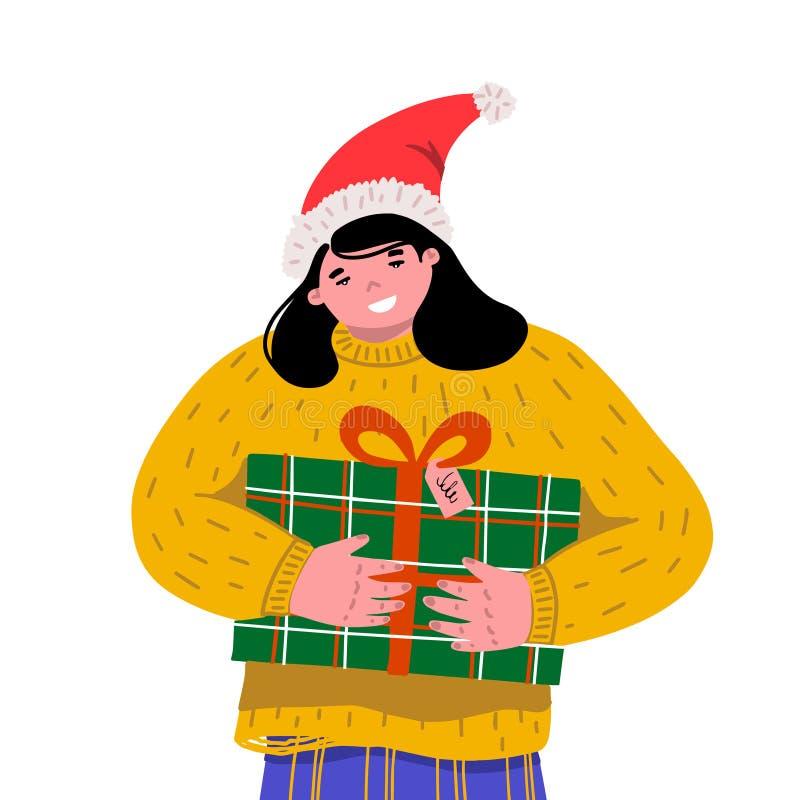 Рождество и С Новым Годом! шаблоны Девушка обнимает подарок плотно Женщина держа коробку рождества иллюстрация вектора