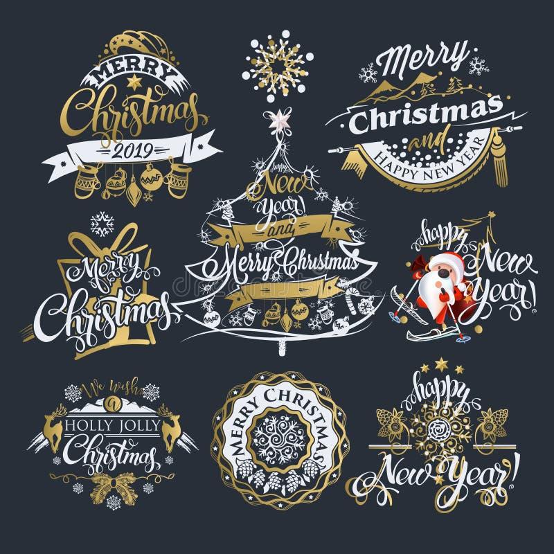 Рождество 2019 и ярлыки и границы Нового Года бесплатная иллюстрация