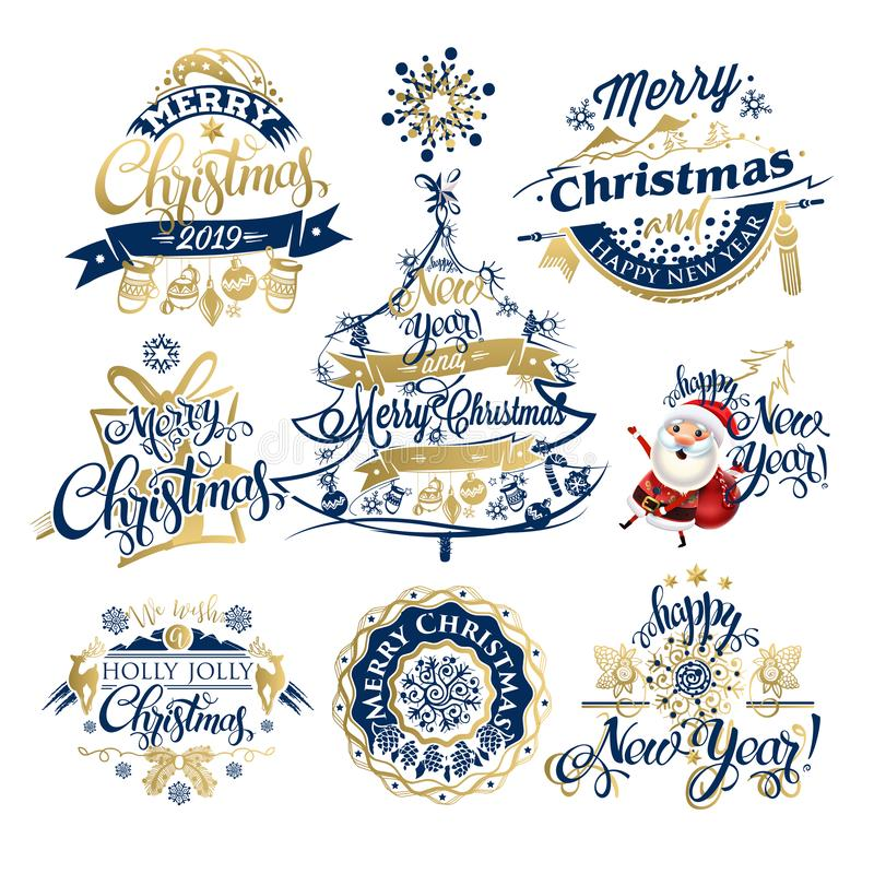 Рождество 2019 и ярлыки и границы Нового Года  иллюстрация вектора