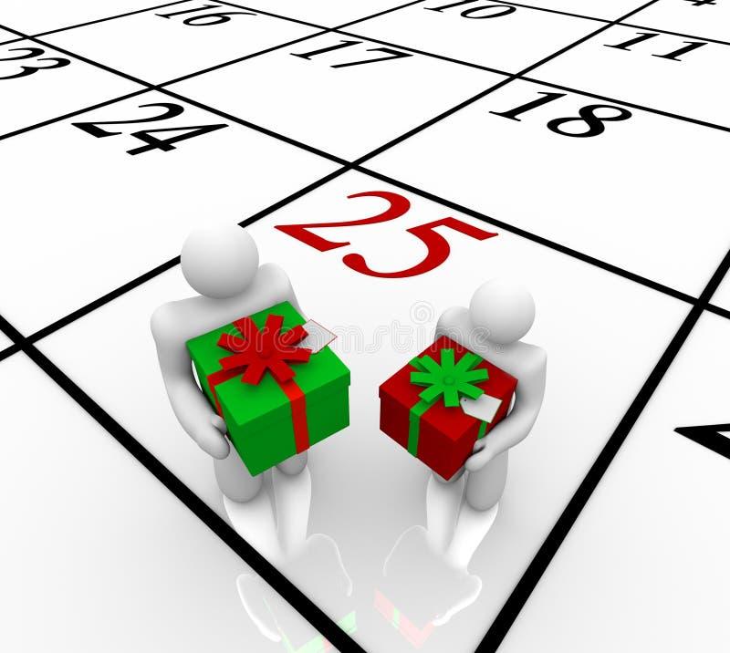 рождество календара обменивая людей подарков бесплатная иллюстрация