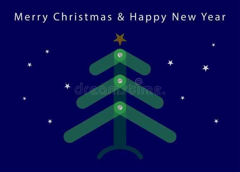 Рождество, карта Нового Года - просвечивающее дерево, звезды иллюстрация вектора