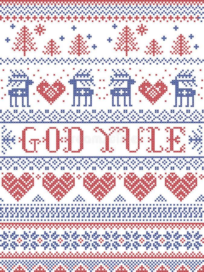 Рождество картины рождества веселое в картине Yule норвежского бога безшовной воодушевленной к зима нордической культуры празднич иллюстрация вектора