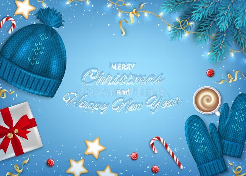 рождество карточки приветствуя счастливое веселое Новый Год Зима иллюстрация вектора