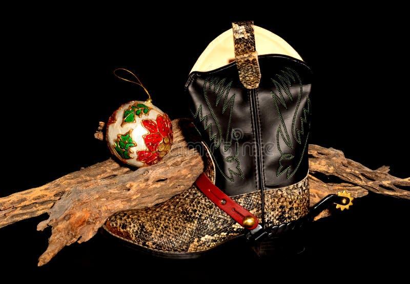 Рождество ковбоя solated над чернотой стоковые изображения