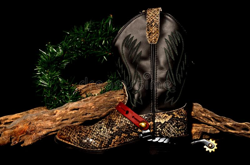 Рождество ковбоя solated над чернотой стоковые фотографии rf