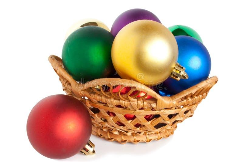 рождество корзины шариков стоковое фото