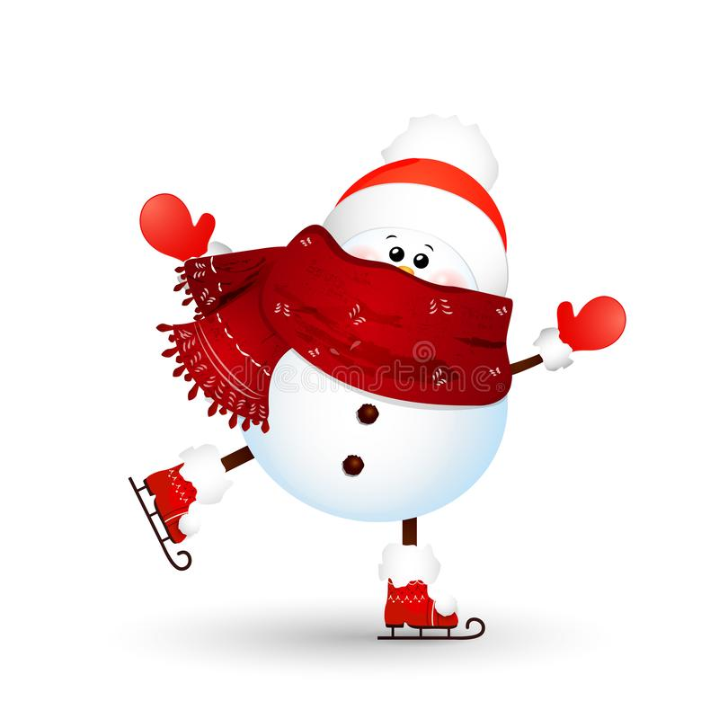 Рождество, милое, смешное катание на коньках снеговика изолированное на белой предпосылке снеговик на праздники зимы и Нового Год иллюстрация вектора