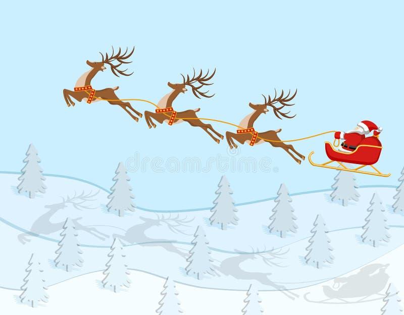 Рождество Нового Года Диаграмма катания Санта Клауса на олене над елевым лесом в цвете с тенями иллюстрация иллюстрация штока