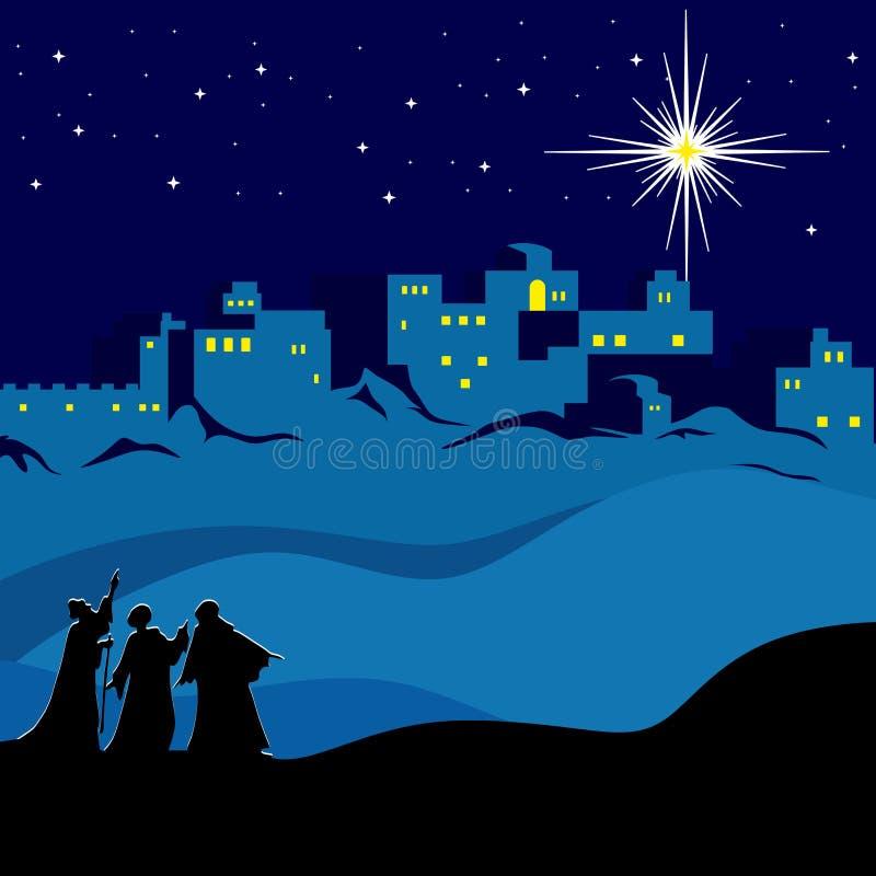 Рождество Ноча Вифлеем, мудрецы следовать звездой Вифлеема иллюстрация штока