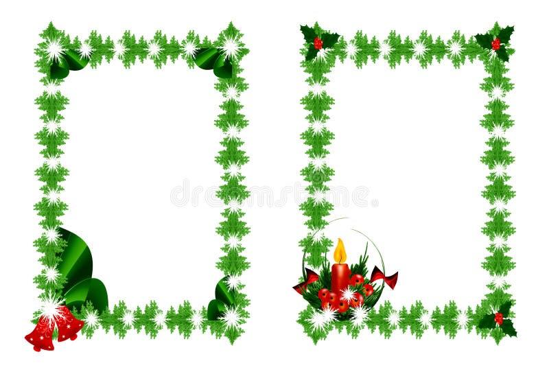 рождество обрамляет зеленый цвет иллюстрация вектора