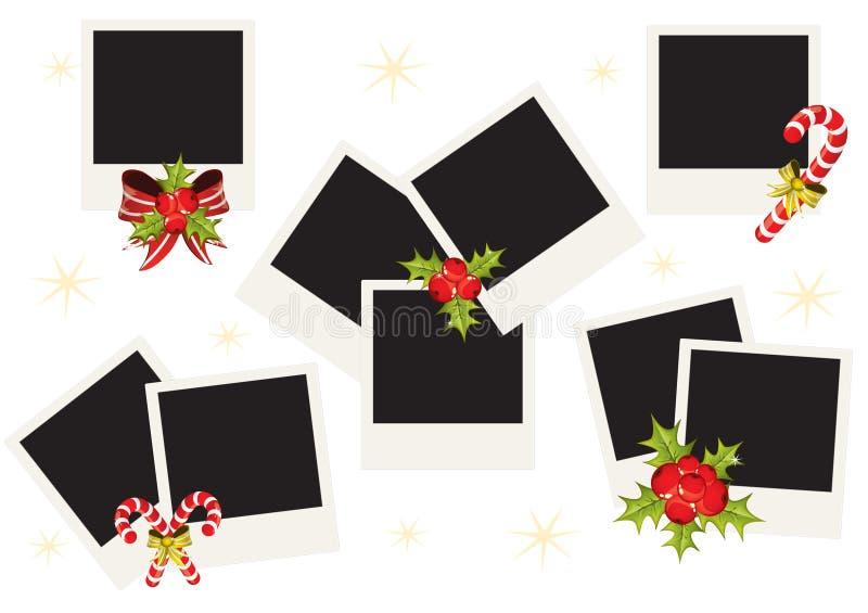 рождество обрамляет поляроид фото иллюстрация вектора