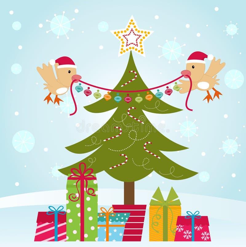 рождество птиц украшая вал 2 иллюстрация штока