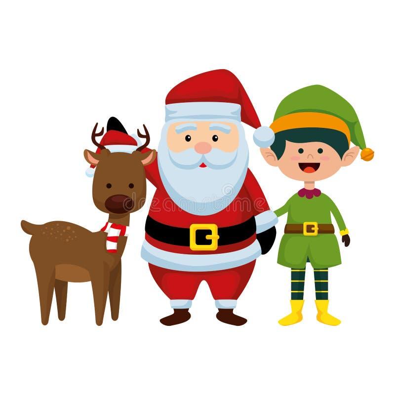 Рождество Санта Клаус с северным оленем и эльфом бесплатная иллюстрация