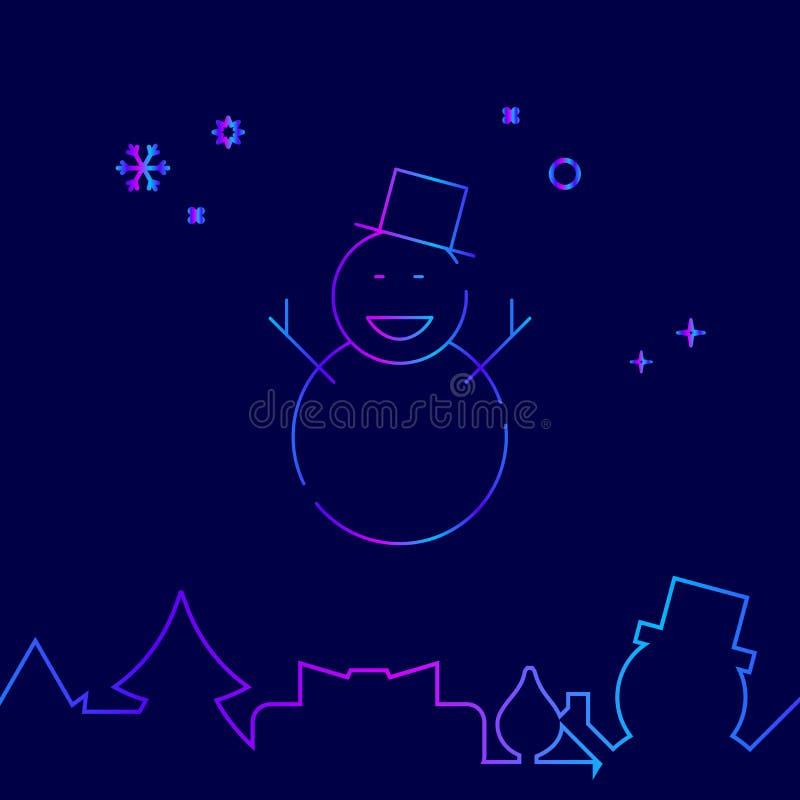 Рождество, счастливая линия значок вектора снеговика, символ, пиктограмма, знак на темно-синей предпосылке Родственная нижняя гра иллюстрация штока