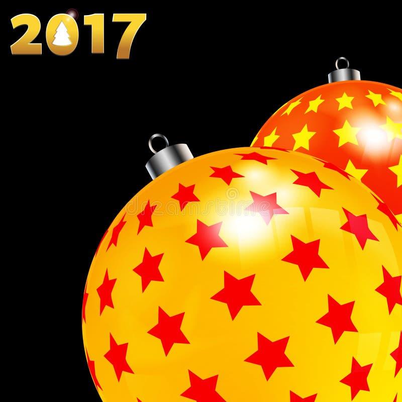 Рождество украсило красные и желтые безделушки на черноте иллюстрация штока