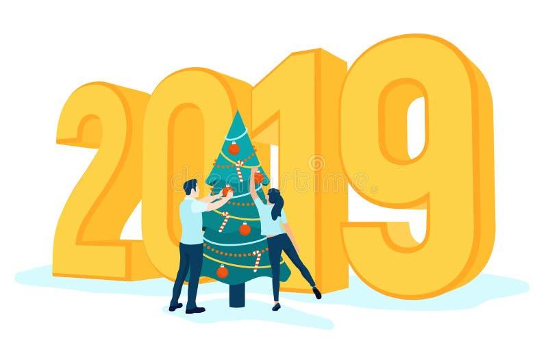 рождество украшает вал людей золотые номера 3D 2019 Принимансяы за человек и женщина подготавливая на Новый Год, иллюстрация штока