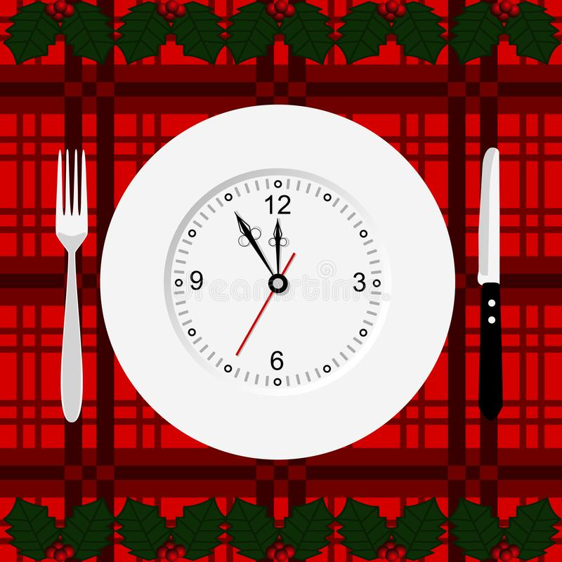 рождество украшает идеи обеда свежие домашние к Новый Год иллюстрация вектора