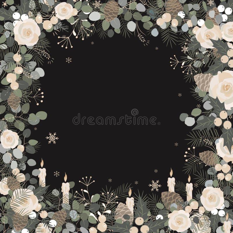 рождество украшает идеи украшения свежие домашние к Изолированная рамка на белой предпосылке иллюстрация штока