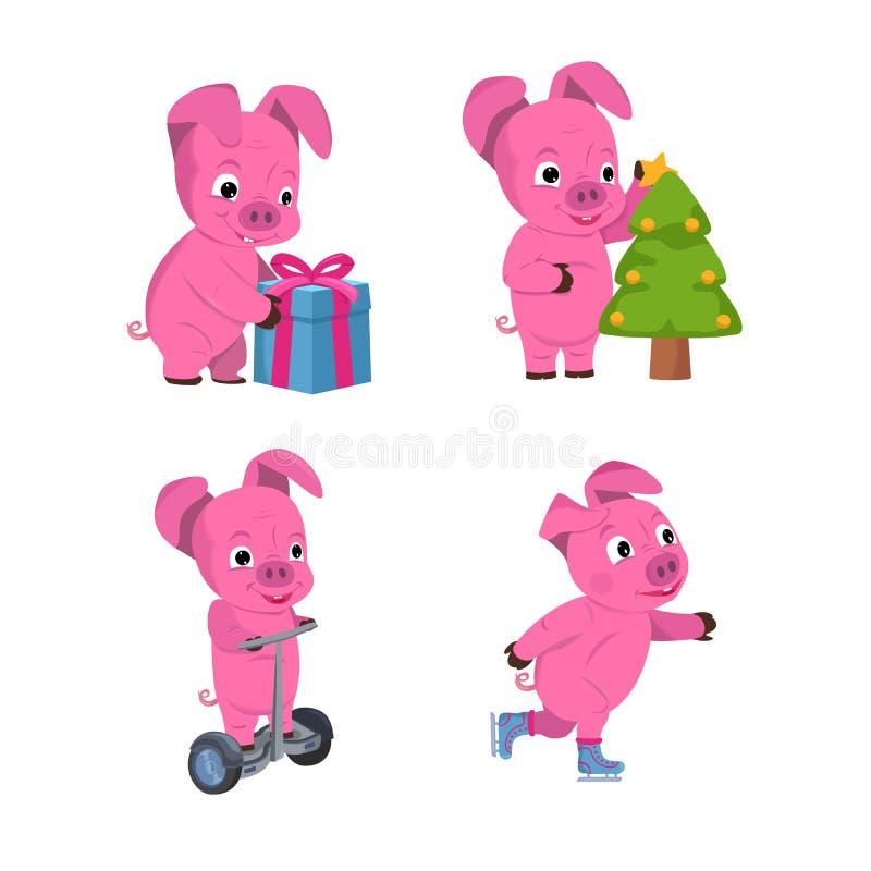 Рождество установило милых маленьких свиней с подарком, рождественской елкой и коньками новый год символа иллюстрация вектора