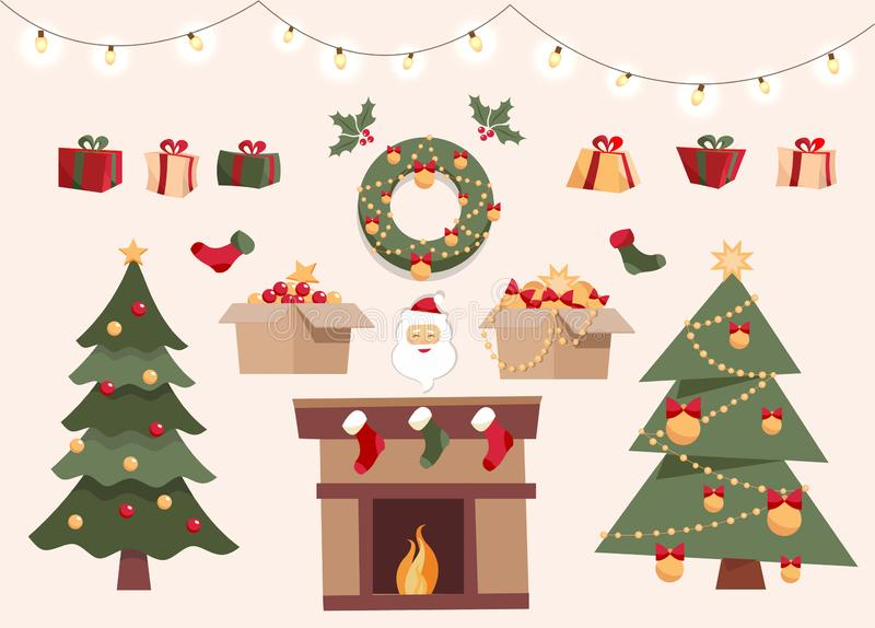 Рождество установило с декоративными объектами зимы, 2 различными деревьями xmas, игрушками в коробках, подарочных коробках, шари иллюстрация вектора