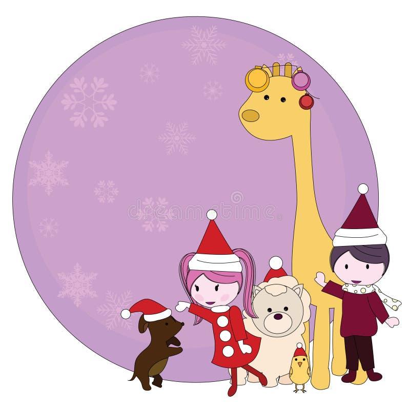 рождество шаржа предпосылки иллюстрация вектора