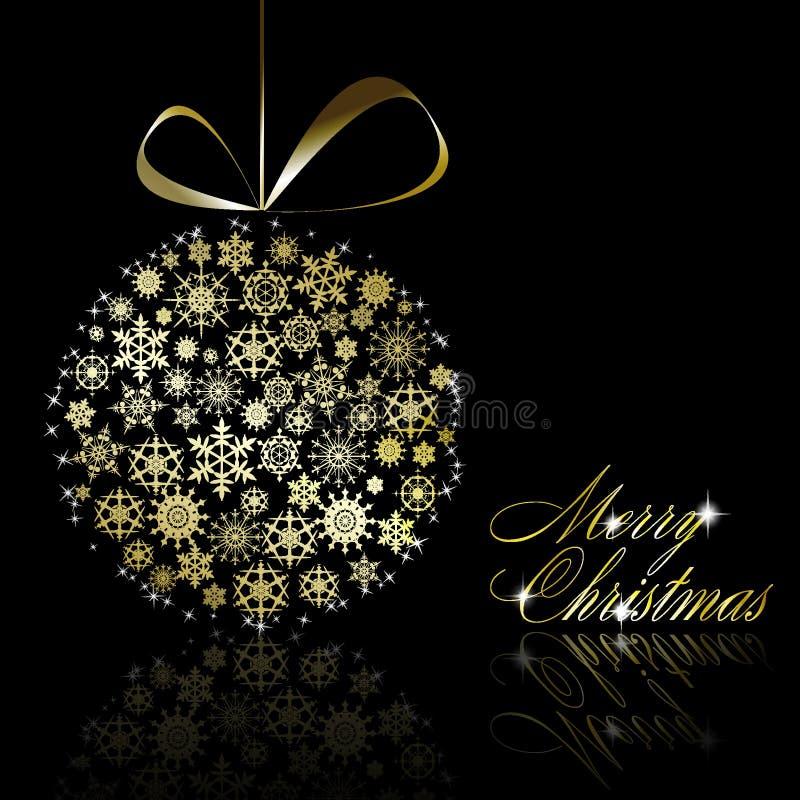 рождество шарика золотистое иллюстрация вектора