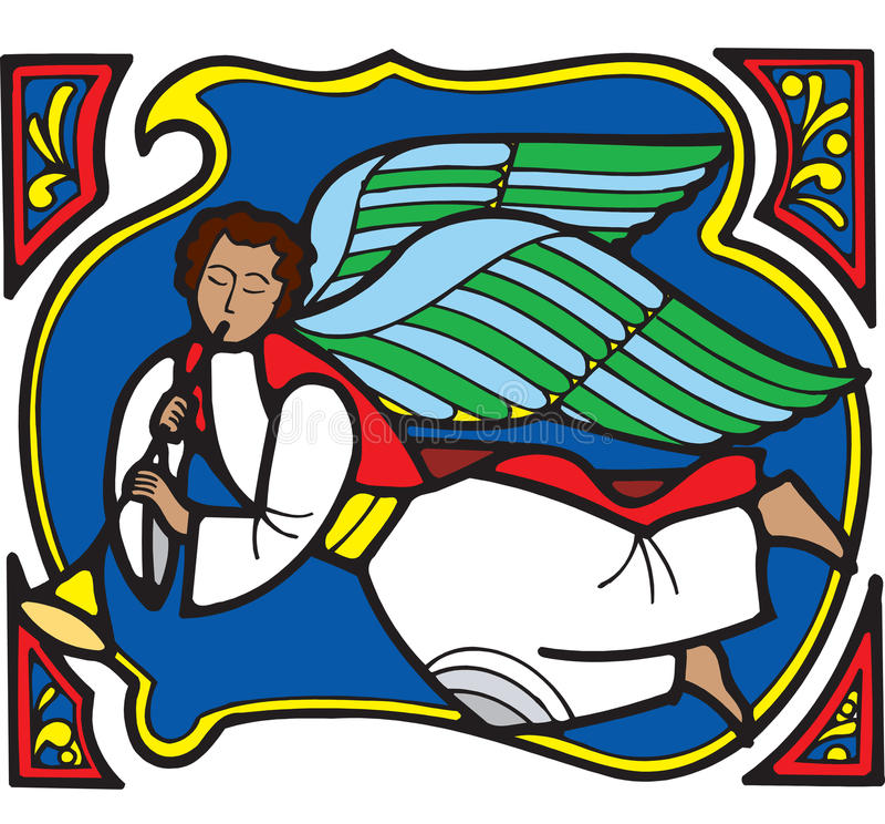 рождество 4 ангелов иллюстрация вектора