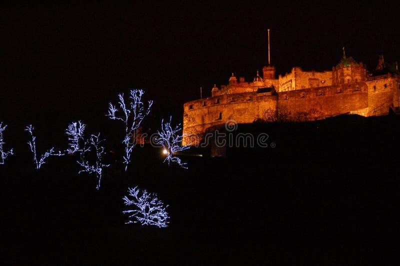 рождество edinburgh замока стоковое изображение rf