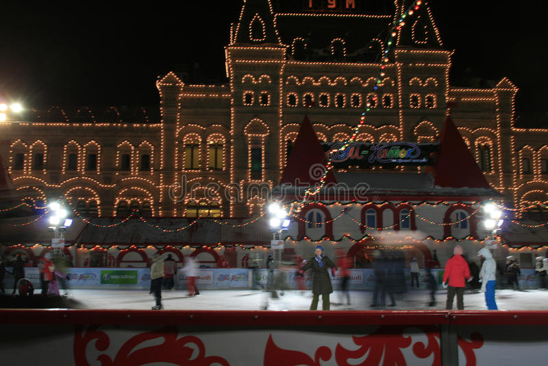 рождество kremlin moscow scating стоковое изображение