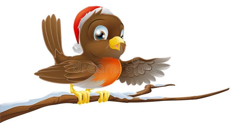 Рождество Robin на ветви Snowy иллюстрация штока