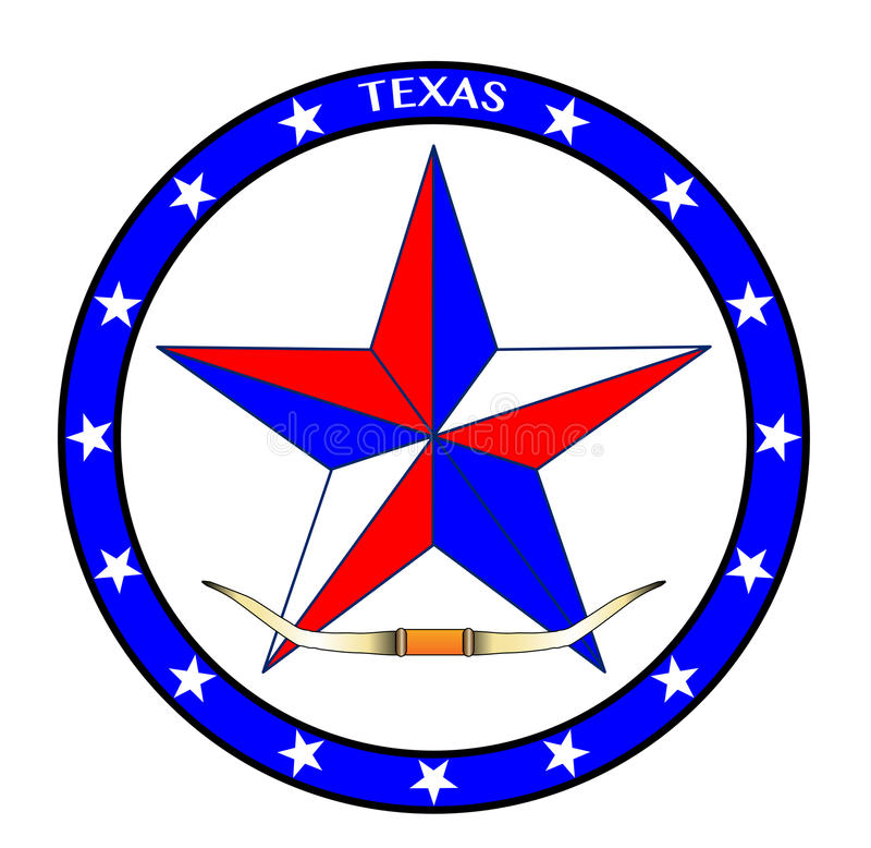 Рожки звезды и кормила Техаса иллюстрация вектора