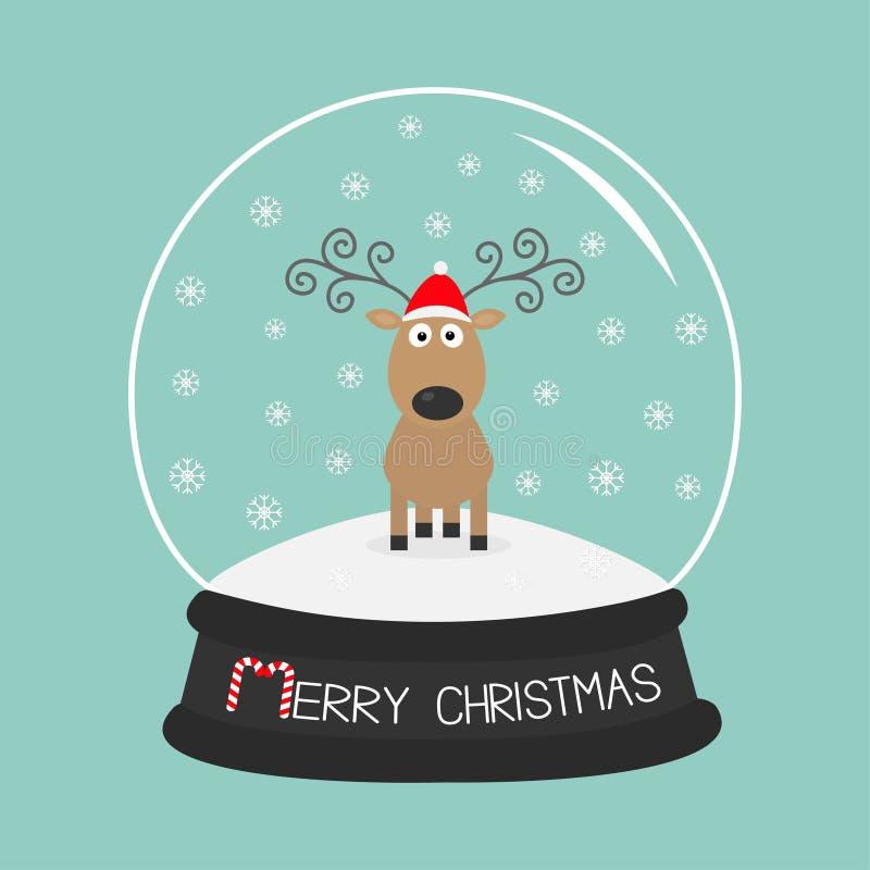 Рожки милых оленей шаржа курчавые, красная шляпа Хрустальный шар с снежинками Дизайн с Рождеством Христовым голубой карточки пред иллюстрация штока