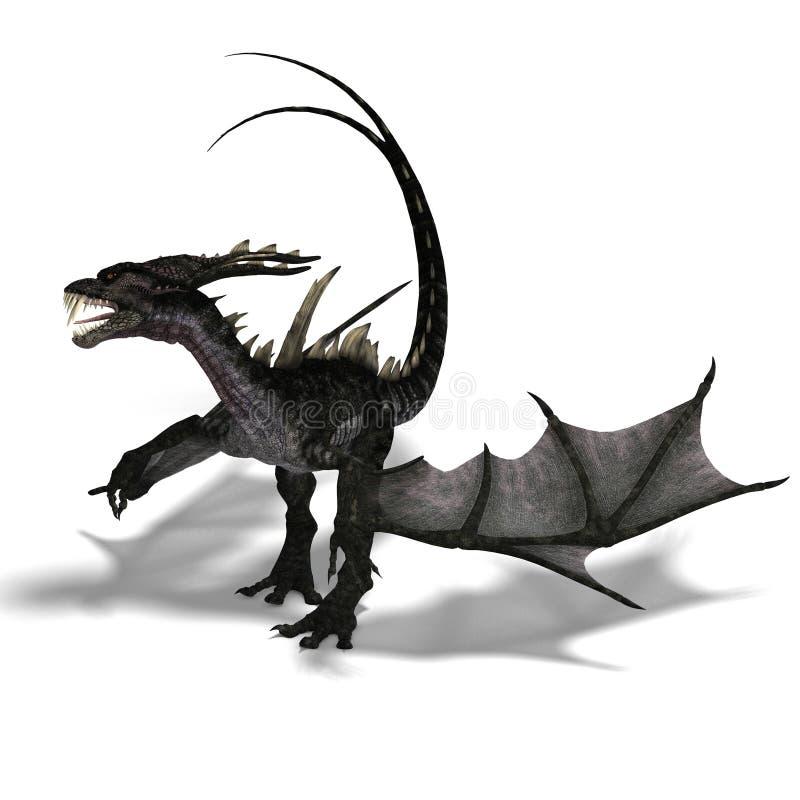 рожочки дракона гигантские ужаша крыла иллюстрация штока