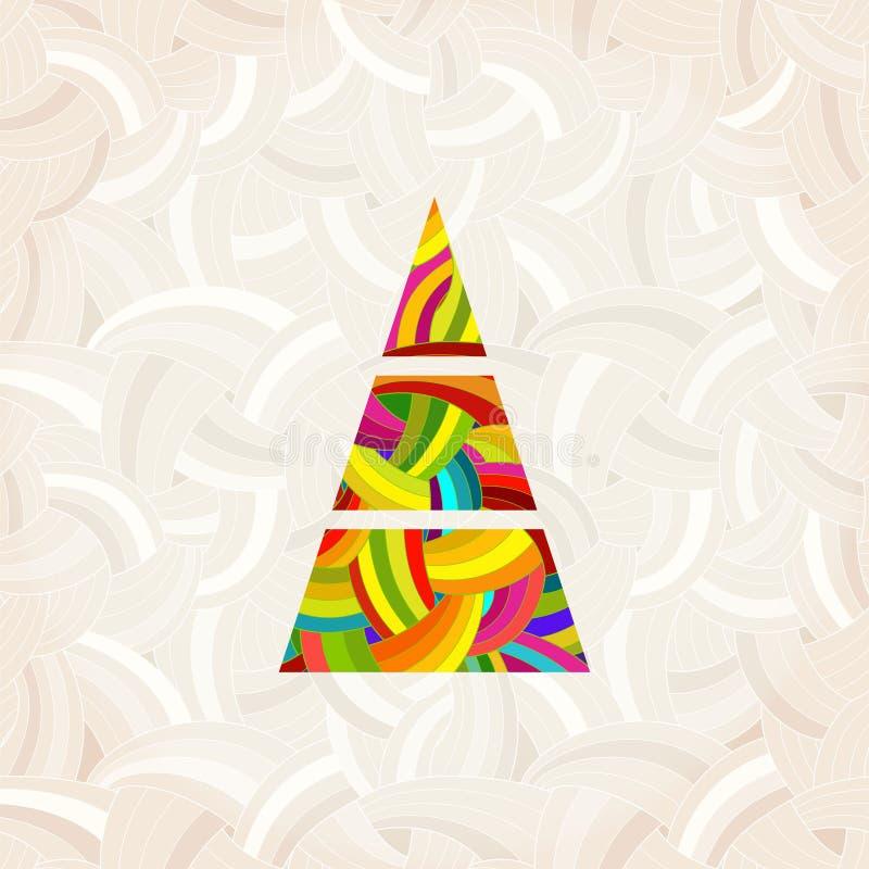 Рождественская елка вектора в цветах радуги Красочная картина под маской иллюстрация вектора