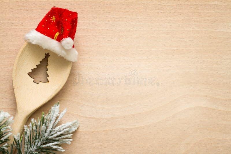 Рождественская елка в предпосылке еды конспекта ложки стоковое фото rf