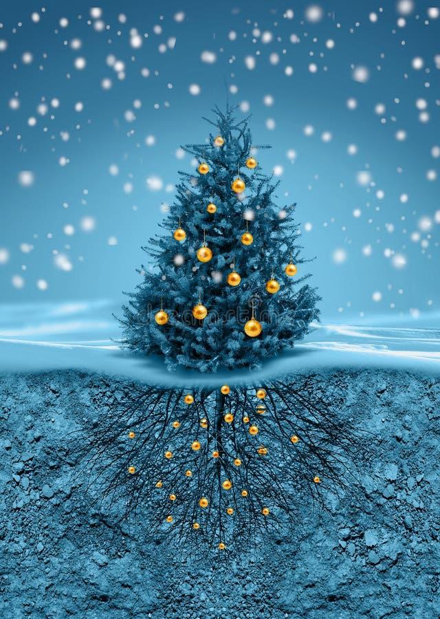 Рождественская елка в снежностях, корнях в почве внизу бесплатная иллюстрация