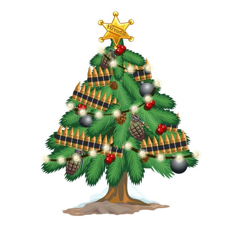 Рождественская елка в стиле войск с оружиями игрушек иллюстрация вектора