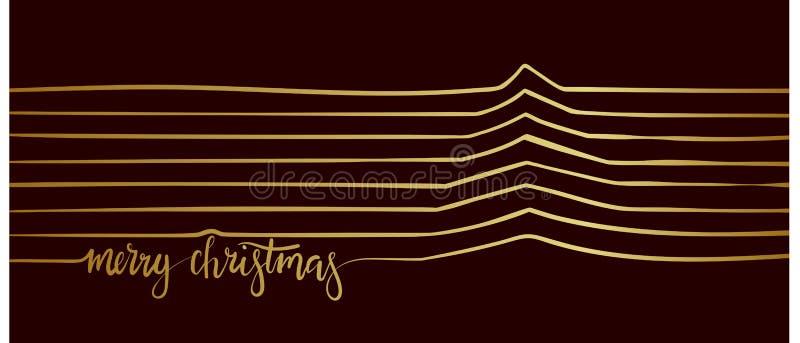 Рождественская елка линии рождество веселое иллюстрация вектора