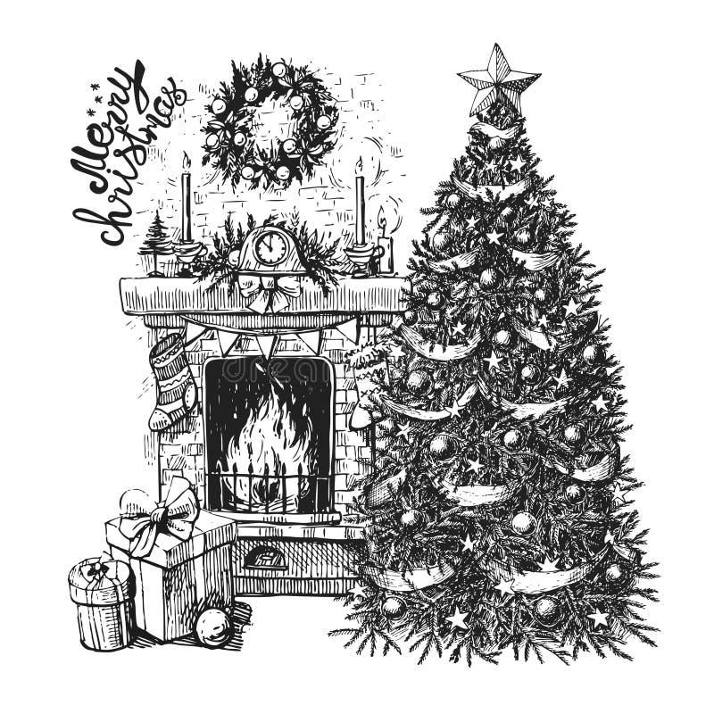 Рождественская елка и камин бесплатная иллюстрация