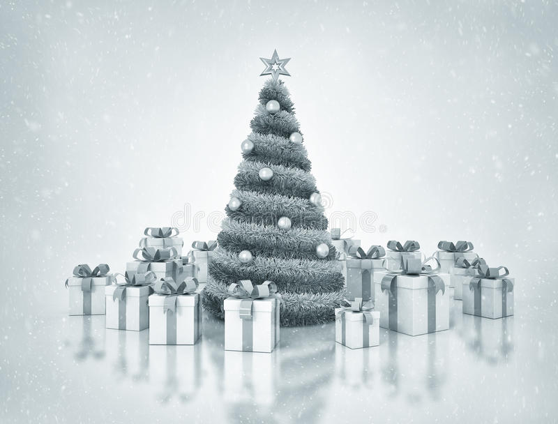 Рождественская елка и настоящие моменты иллюстрация штока