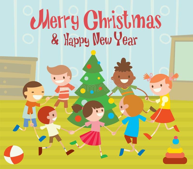 Рождественская елка круглых танцев детей в клубе младенца иллюстрация вектора