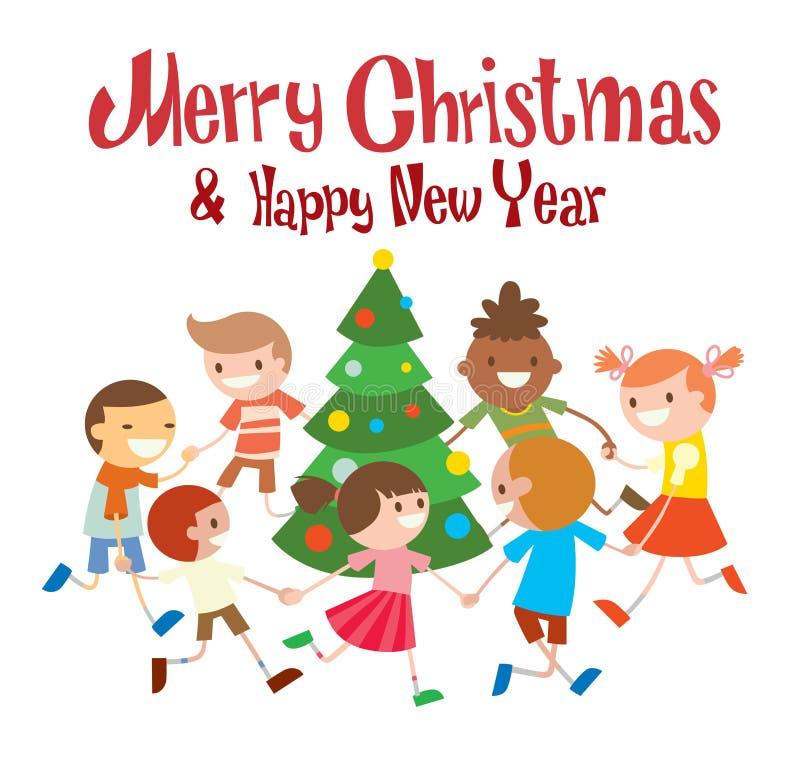 Рождественская елка круглых танцев детей в клубе младенца бесплатная иллюстрация