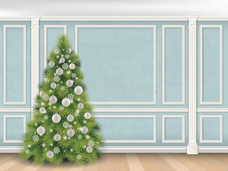 Рождественская елка на голубой стене с предпосылкой пилястров иллюстрация вектора