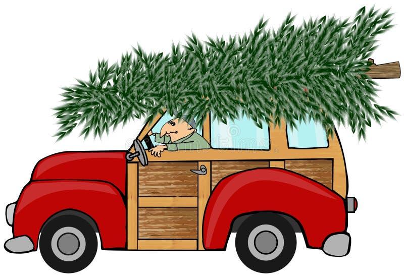 Рождественская елка на древообразном иллюстрация штока