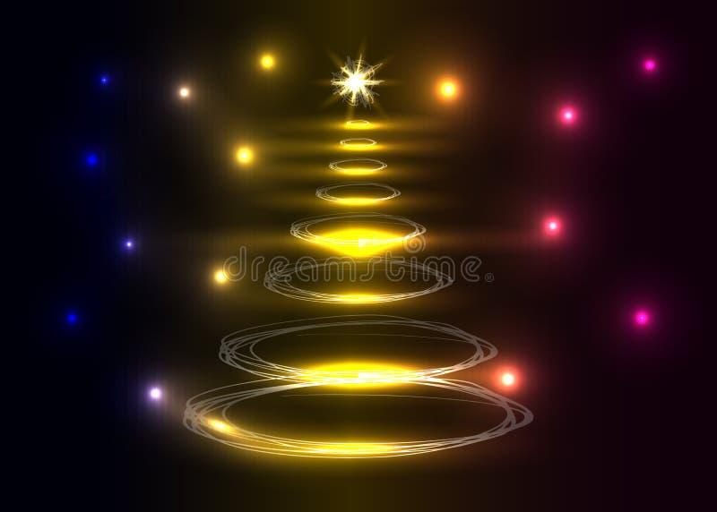 Рождественская елка на темной предпосылке бесплатная иллюстрация